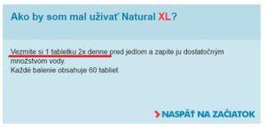 užívanie Natural XL