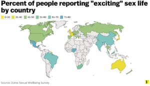 percentuálna spokojnosť so sexom vo svete
